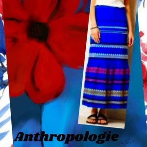 Anthropologie blue beaded and embroidered skirt